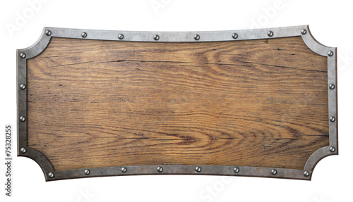 Papiers peints Bois wood sign with metal frame on chain isolated on white