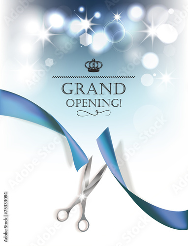 Fotografía  Grand opening background with blue ribbon and silver scissors