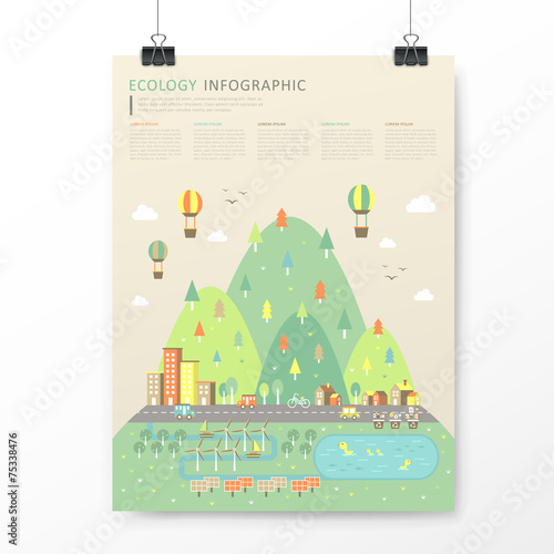 Foto  lovely town scenery infographic template