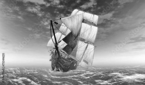potezny-sredniowieczny-statek-z-bialymi-zaglami-na-otwartym-morzu-czarno-biala-ilustracja