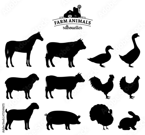 Fotomural  Vector Farm Animals Silhouettes Isolated on White