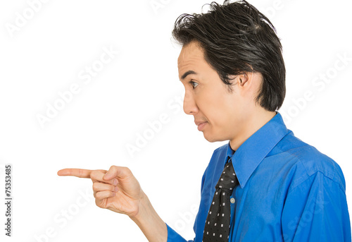 Fotografie, Obraz  serious man, pointing with index finger at someone