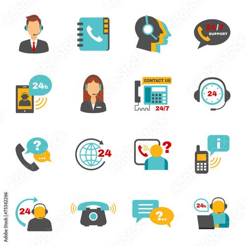 Fotografia  Support contact call center icons set