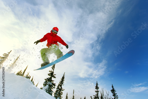 Fotografie, Tablou  Snowboarder jumping