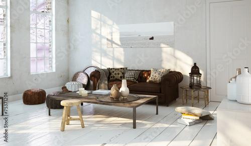 Ledersofa in Altbau Wohnung - Leather Sofa in old aparment