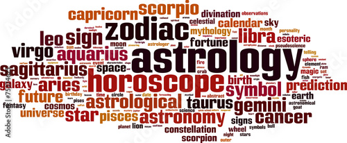 Photo Astrology word cloud concept. Vector illustration