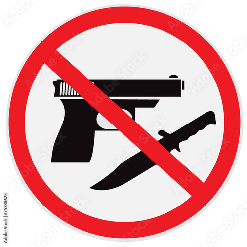 No weapon allowed, prohibited, sign Wallpaper Mural