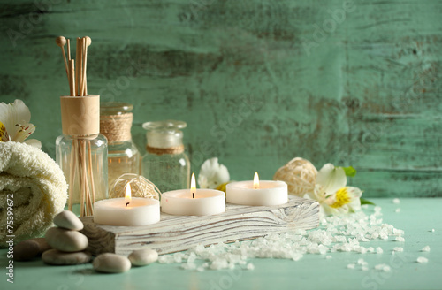 Foto op Canvas Spa Composition of spa treatment, candles in bowl with water