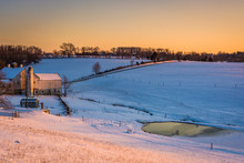 View Of A Barn On A Snow-covered Farm In Rural York County, Penn