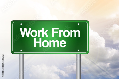 Work From Home Green Road Sign, business concept Poster