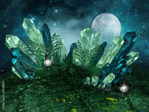 Photo  Magiczne kryształy na łące na tle księżyca