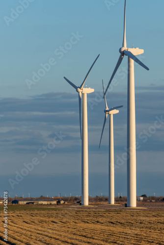 Fotografie, Obraz  renewable energy - wind turbines in rural hay fields