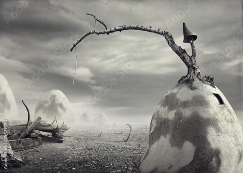 Surreal artistic image of a dirt house black and white