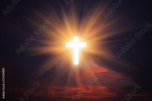 Fotografie, Obraz  Cross in sky