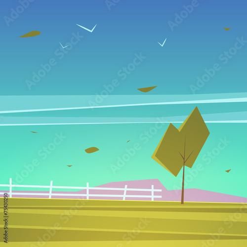 Spoed Foto op Canvas Turkoois Cartoon Landscape