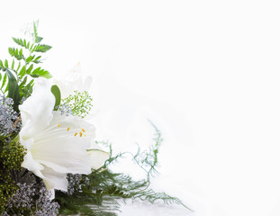 bouquet composition with white amaryllis