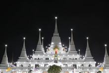 Thai Pagoda At Night