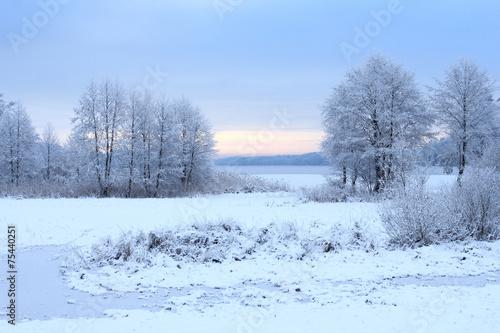 Fotobehang Lichtblauw Winter snowy landscape with a frozen lake