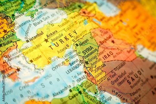 close up map Syria Jordan and Turkey – kaufen Sie dieses Foto und ...
