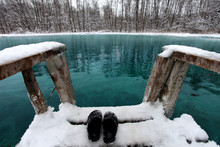 Winter Swimming In Blue Lake