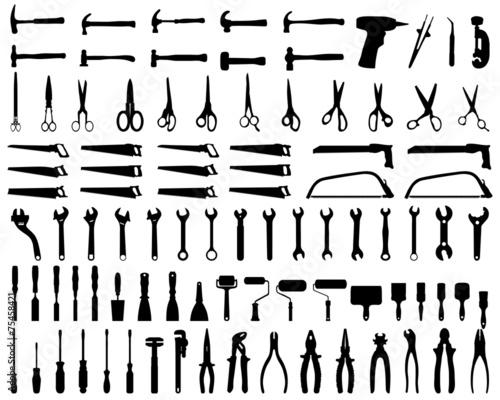 Carta da parati Set of black silhouettes of tools, vector