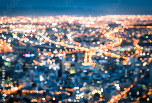 Fotobehang Las Vegas Bokeh of Cape Town skyline from Signal Hill after sunset