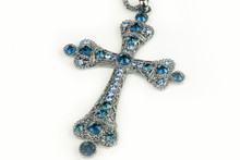Blue Cross Necklace In A Studio (background, Wallpaper)