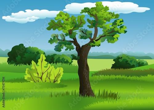 In de dag Lime groen Landscape with tree