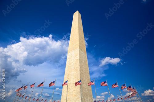 Fototapeta Washington Monument with american flags, Washington DC obraz