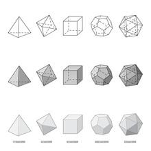 Platonic Solids, Vector Illust...