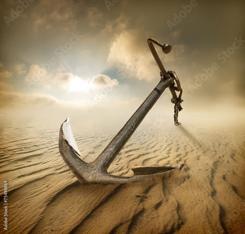 Canvastavla Anchor in desert