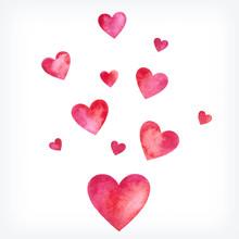 Vector Watercolor Hearts, Valentine Day Card
