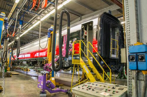 fitting windows on railway wagon