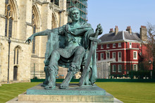 Bronze Statue Of Constantine The Great In The Courtyard In York