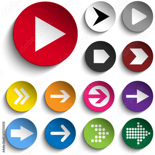 Fotografía  Set of Arrows on Colorful Buttons