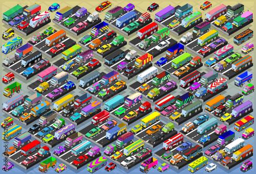 Isometric Cars, Buses, Trucks, Vans, Mega Collection All In Vector