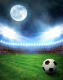 Fototapeta sport - Soccer ball in grass, soccer stadium with the dright lights