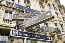 Paris, France. Street Directions And Signs