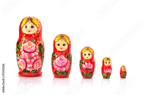 Set of five matryoshka russian nesting dolls