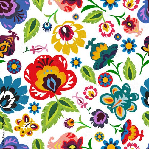 fototapeta na ścianę Tradycyjna polska ludowa kwiatowy wzór wektora