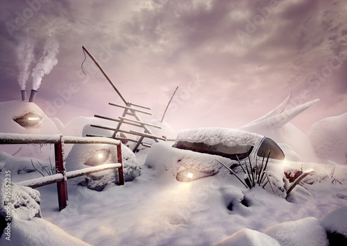 Surreal artistic winter image with houses and lights