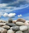 stones on blue sky background