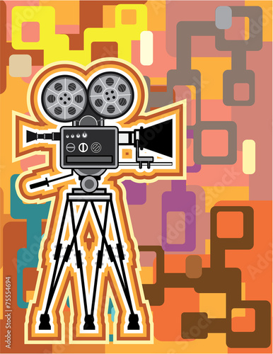 Fotografie, Obraz  Abstract Background Movie Projector Film camera Vector