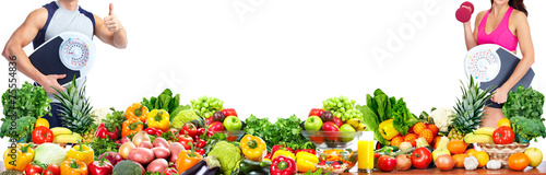 Poster Légumes frais Woman with scales and fruits
