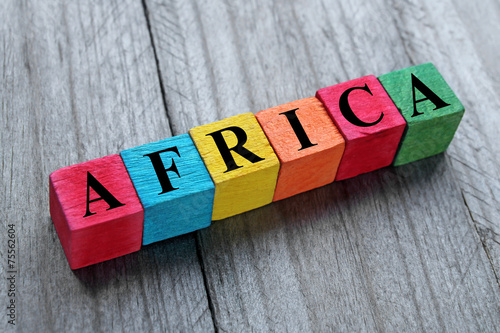 Wall Murals Algeria word africa on colorful wooden cubes