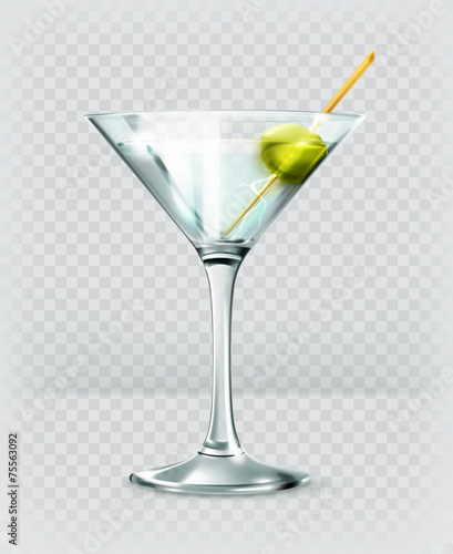 Fotomural  Martini cocktail, vector icon