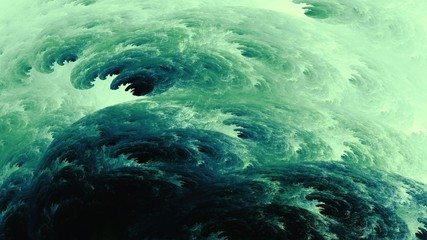 Watercolor abstract of furious oceans