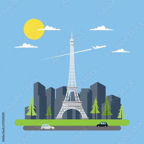 Flat design of Eiffel tower