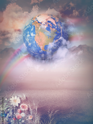Canvas Prints Imagination Magic landscape with rainbow