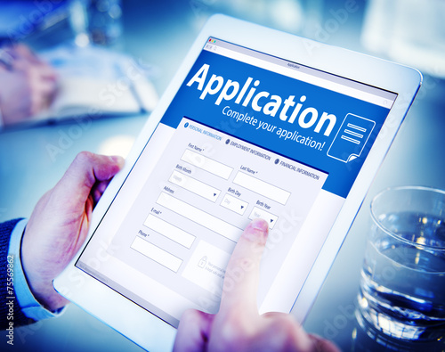 Application Human Resources Hiring Job Recruitment Concept Canvas Print